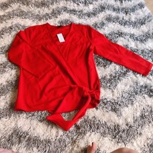 Ann Taylor Red belted Wrap Blouses
